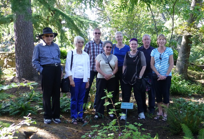 Visiting members of the family in the Queenie and Orm Benson Garden. From left to right: David Donaldson, Diane Donaldson, Greg Benson, Rosemary Donaldson, Roberta Benson, Miriam Kaufman, Brian Donaldson and Sheila Benson.